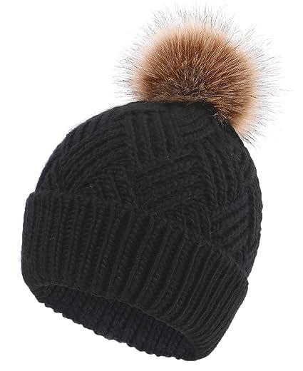 3b6945155 Women's Diamond Weave Knit Faux Fur Pompom Winter Beanie