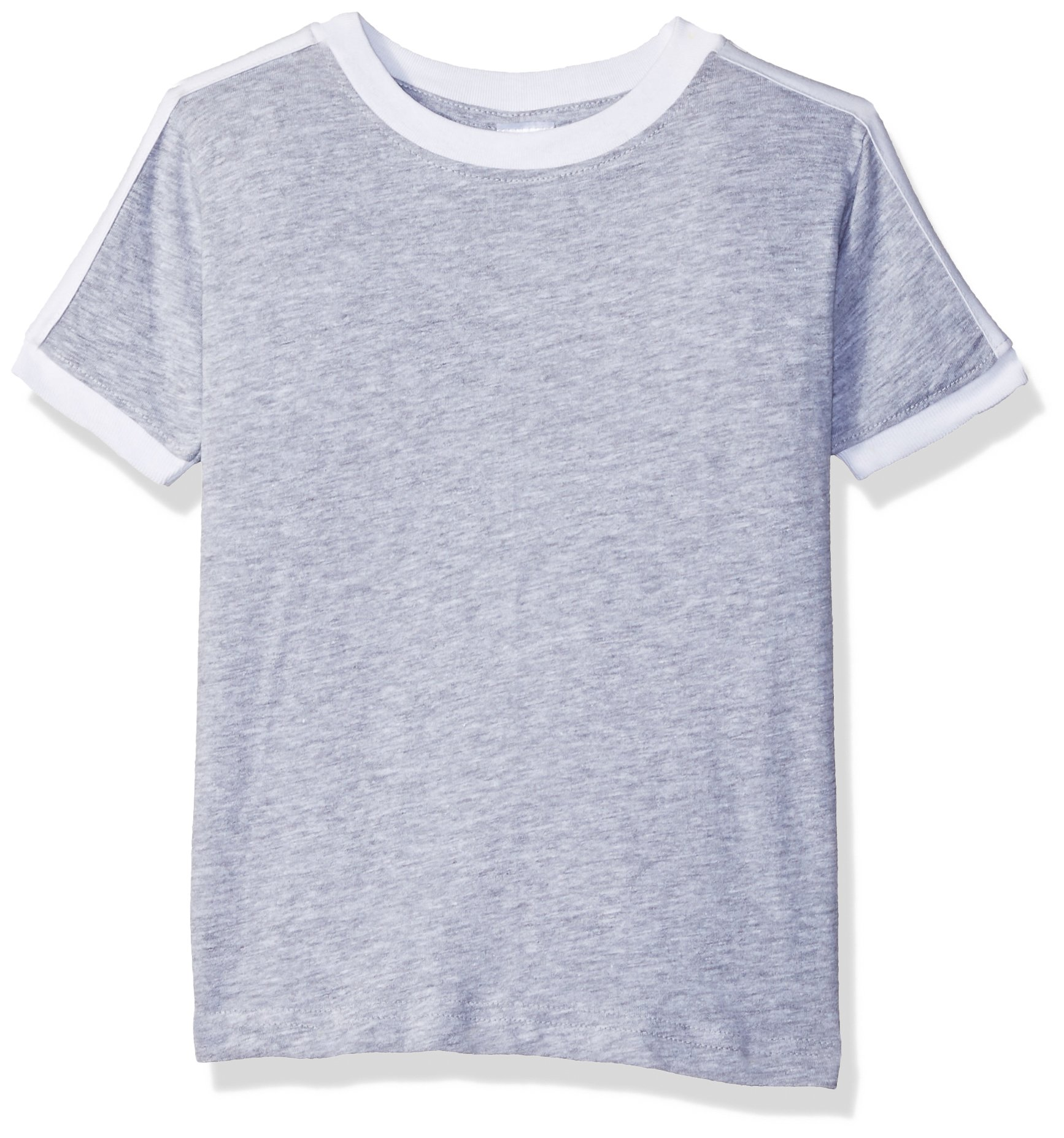 Clementine Toddler Kids Soccer Ringer Fine Jersey T-Shirt, Heather/White, 2T