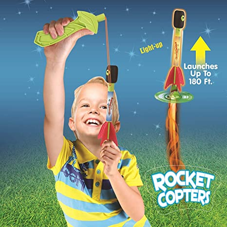 Light Up Whistling Sky Copter w// Slingshot Style Launcher Flying Toy