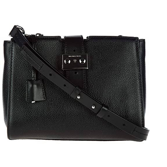 6e66f83ec2db Michael Kors Bond Medium Black Leather Messenger Bag Black Leather   Amazon.co.uk  Shoes   Bags