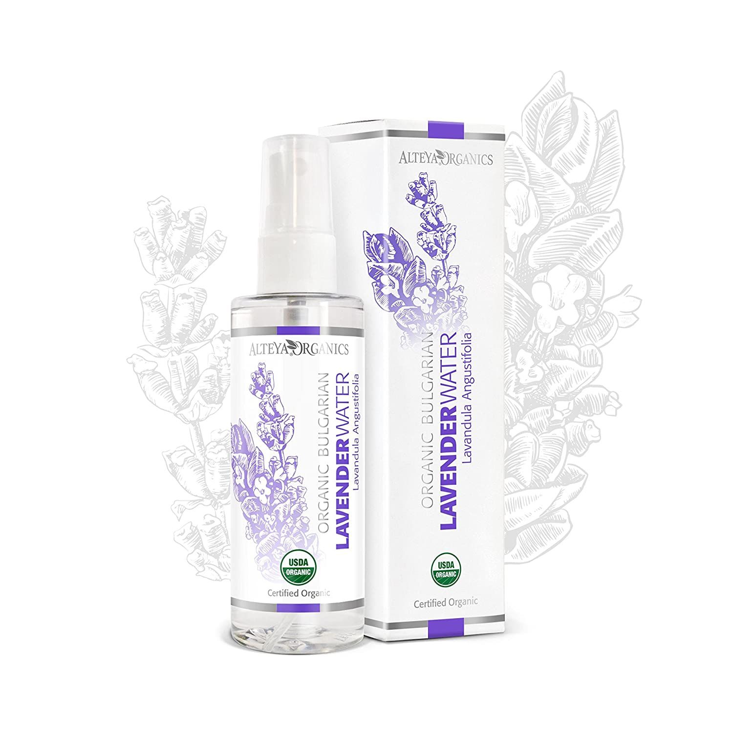 Alteya Organic Lavender Water Spray 100ml - 100% USDA Certified Organic Authentic Pure Natural Flower Water Steam-Distilled and Sold Directly by the Lavender Grower Alteya Organics OLW03S