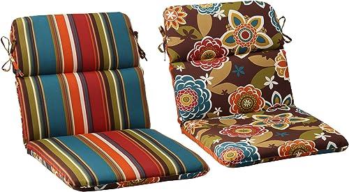 Pillow Perfect Outdoor/Indoor Annie Chocolate/Westport Teal Round Corner Chair Cushion