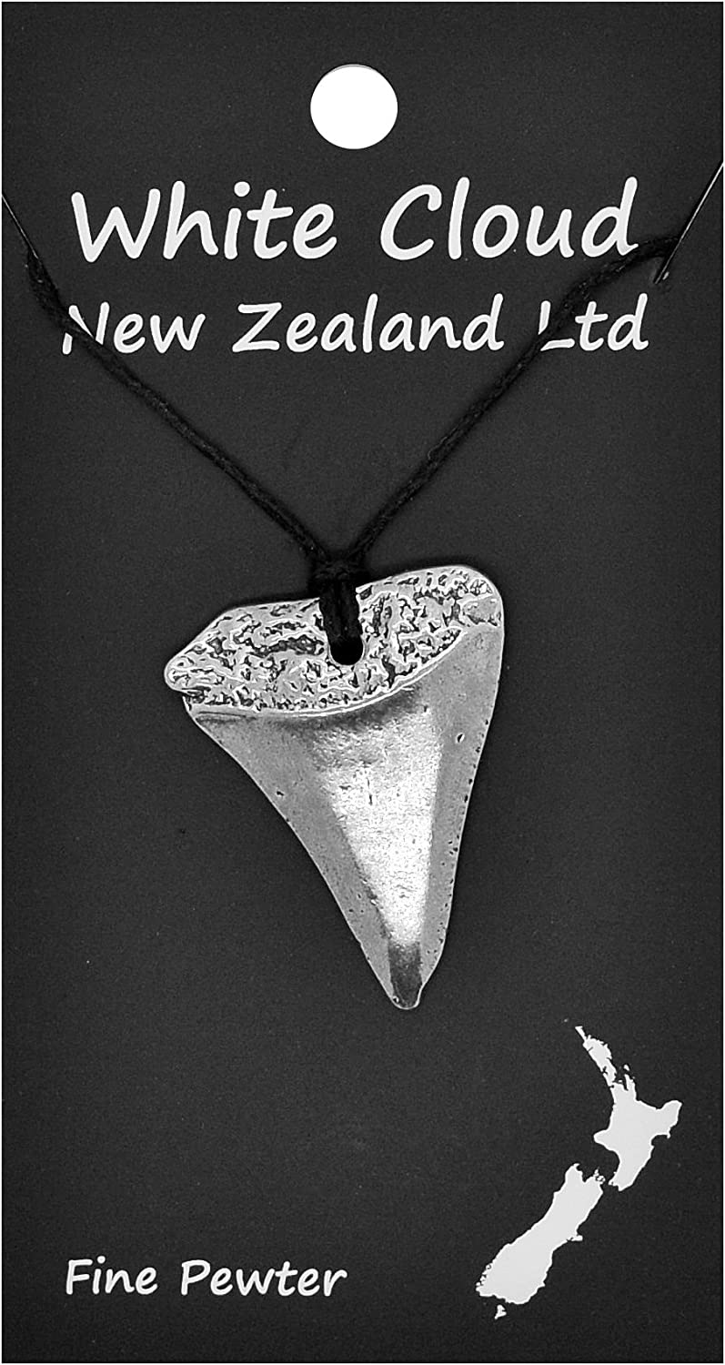 Handmade New Zealand Great White Shark Tooth Pewter Pendant on Waxed Cord