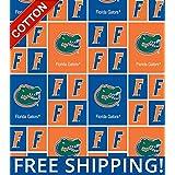 "Pico Textiles University of Florida Gators NCAA Cotton Fabric - 45"" Wide - Style# FL-020"