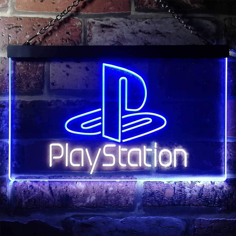 Blue W40cm x H30cm zusme Playstation Game Room Kid Novelty LED Neon Sign White