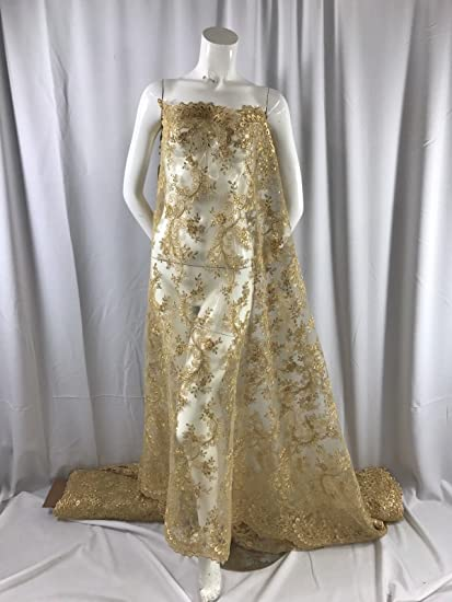 Gold French Corded Design-embroider With Sequins On A Mesh Lace Fabric-by Yard.
