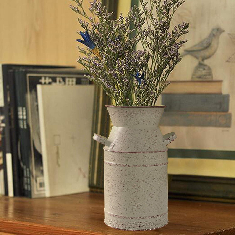 Amazon Com Fovasen Metal French Style Farmhouse Vase Decor Galvanized Milk Can Bucket Rustic Flower For Bathroom Kitchen Wedding Table Centerpiece Decorations 7 5 H Beige Home