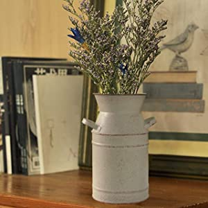 """Fovasen Metal Galvanized Flower Vase Milk Can Jug Bucket French Vintage Country Decorative with Handle for Rustic Farmhouse Home Wedding Centerpiece Decor & Housewarming Gift -7.5"""" H/Beige"""