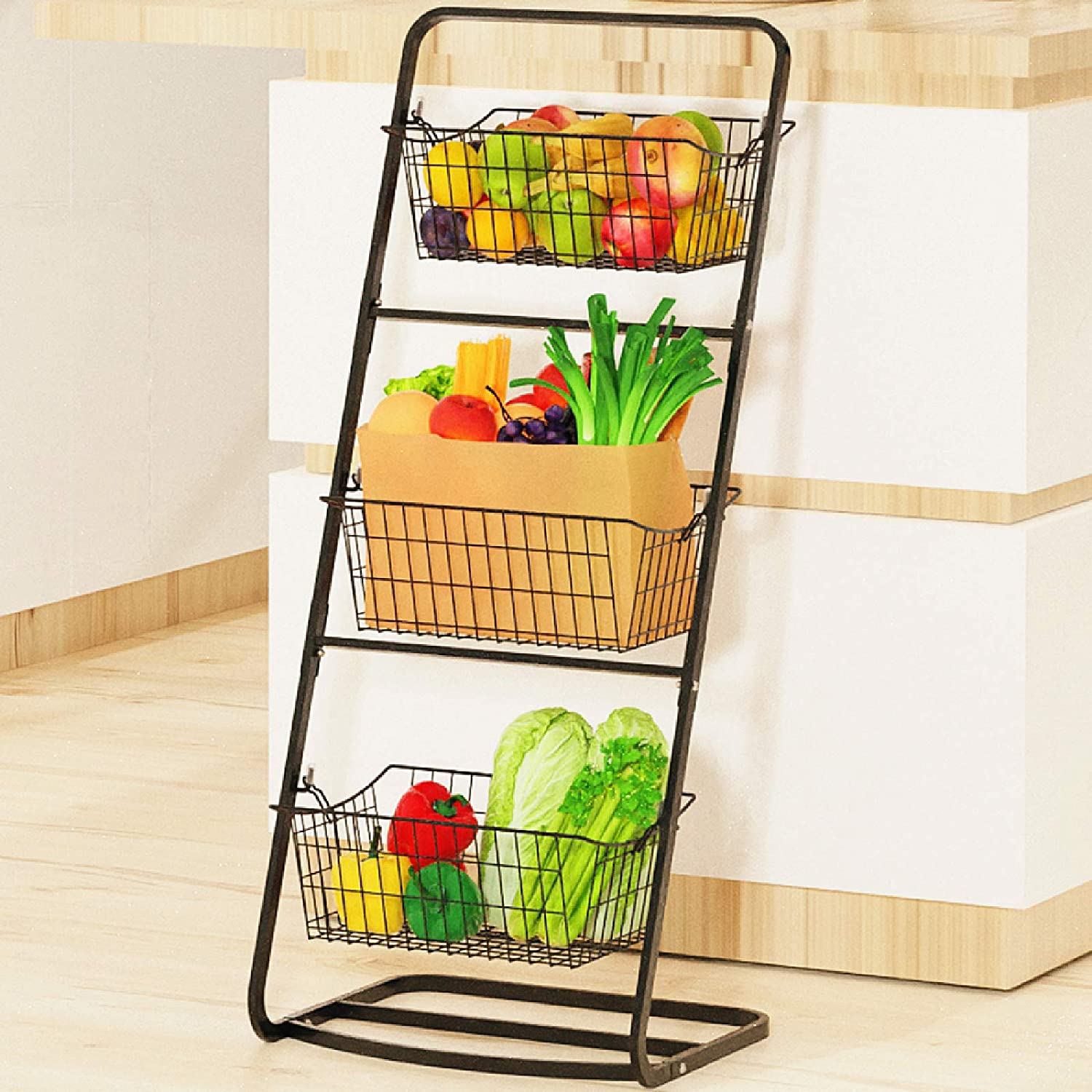 Wire Market Basket Stand, Packism Vertical 3 Tier Fruit Basket Stand with 3 Removable Wire Basket Space Saving for Kitchen Bathroom Pantry Floor Stand Metal Storage Basket for Fruit Vegetable Potatoes