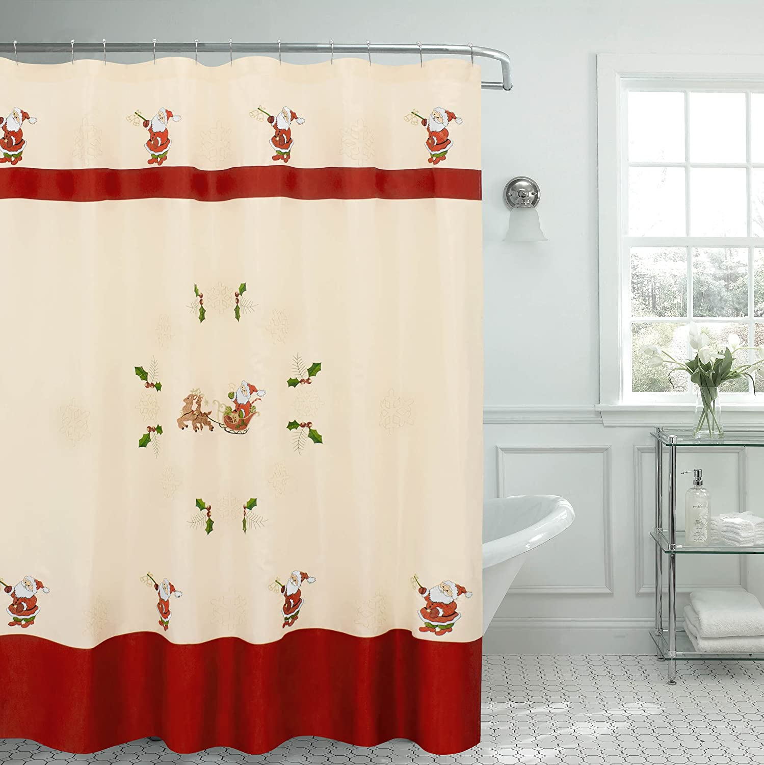 Amazon.com: Creative Home Ideas Santa Embroidered Shower Curtain, 70 x 72, Beige/White/Red/Green/Gold: Home & Kitchen