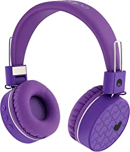 Rockpapa K8 Foldable Childrens Kids Wireless Headphones Bluetooth On Ear Headset with MIC and Remote Control, Hands-Free Call, Including Wired Mode Purple