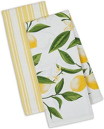 2 Geschirrtücher Baumwolle 50x70 cm Handtuch Küchenhandtuch Küchentücher Zitrone