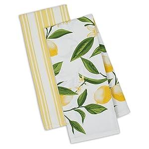 DII Kitchen Dish Towel Set 2 Lemon Bliss Yellow Green Lemon Print & Yellow Stripe