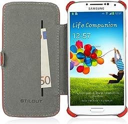StilGut Custodia esclusiva Slimcase in similpelle con scomparto carte di credito per Samsung Galaxy S4 i9500 e i9505 - rosso