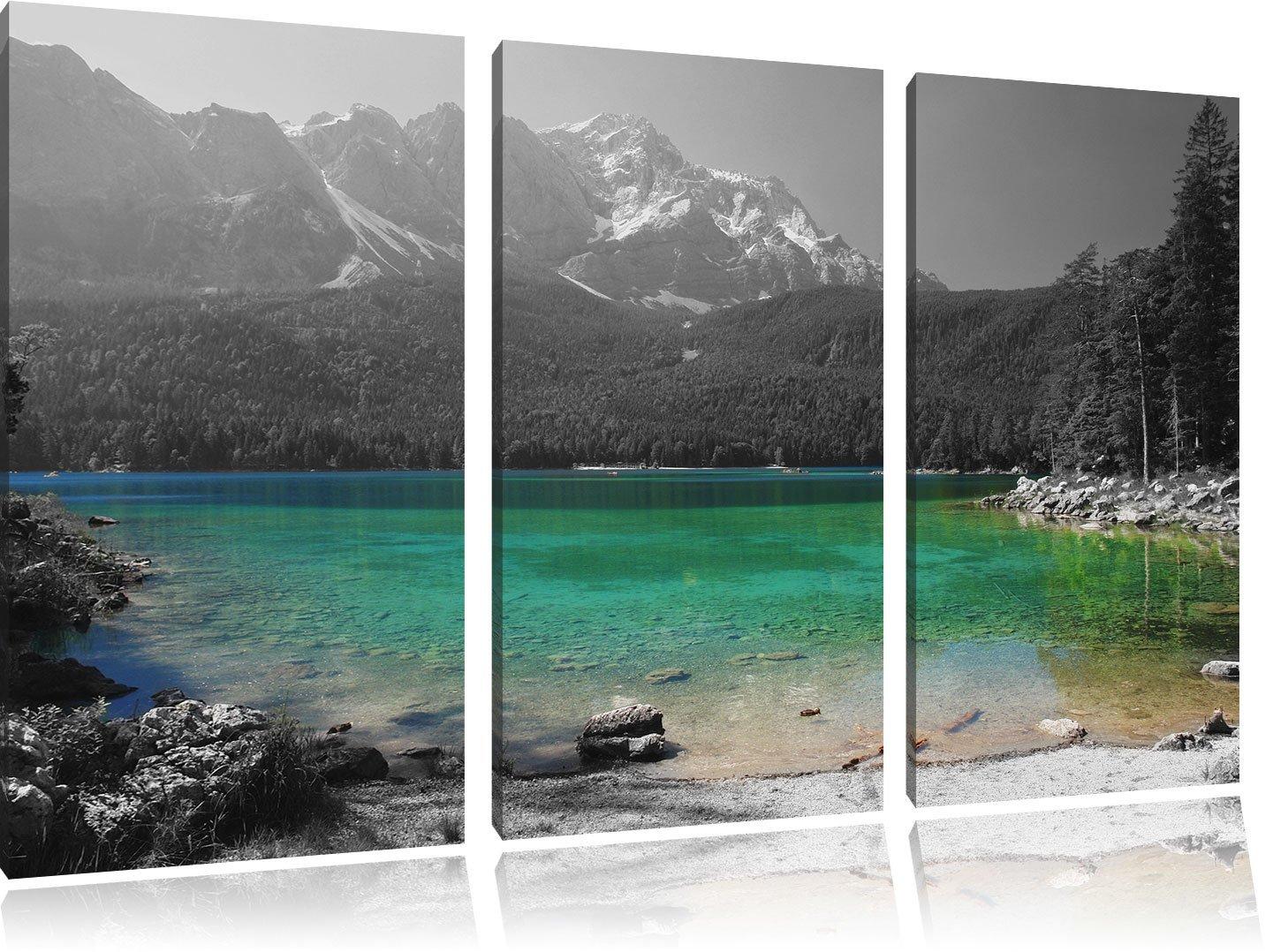 Eibsee vor der Zugspitze schwarz weiß 3-Teiler Leinwandbild 120x80 Bild auf Leinwand, XXL riesige Bilder fertig gerahmt mit Keilrahmen, Kunstdruck auf Wandbild mit Rahmen, günstiger als Gemälde oder Ölbild, kein Poster oder Plakat
