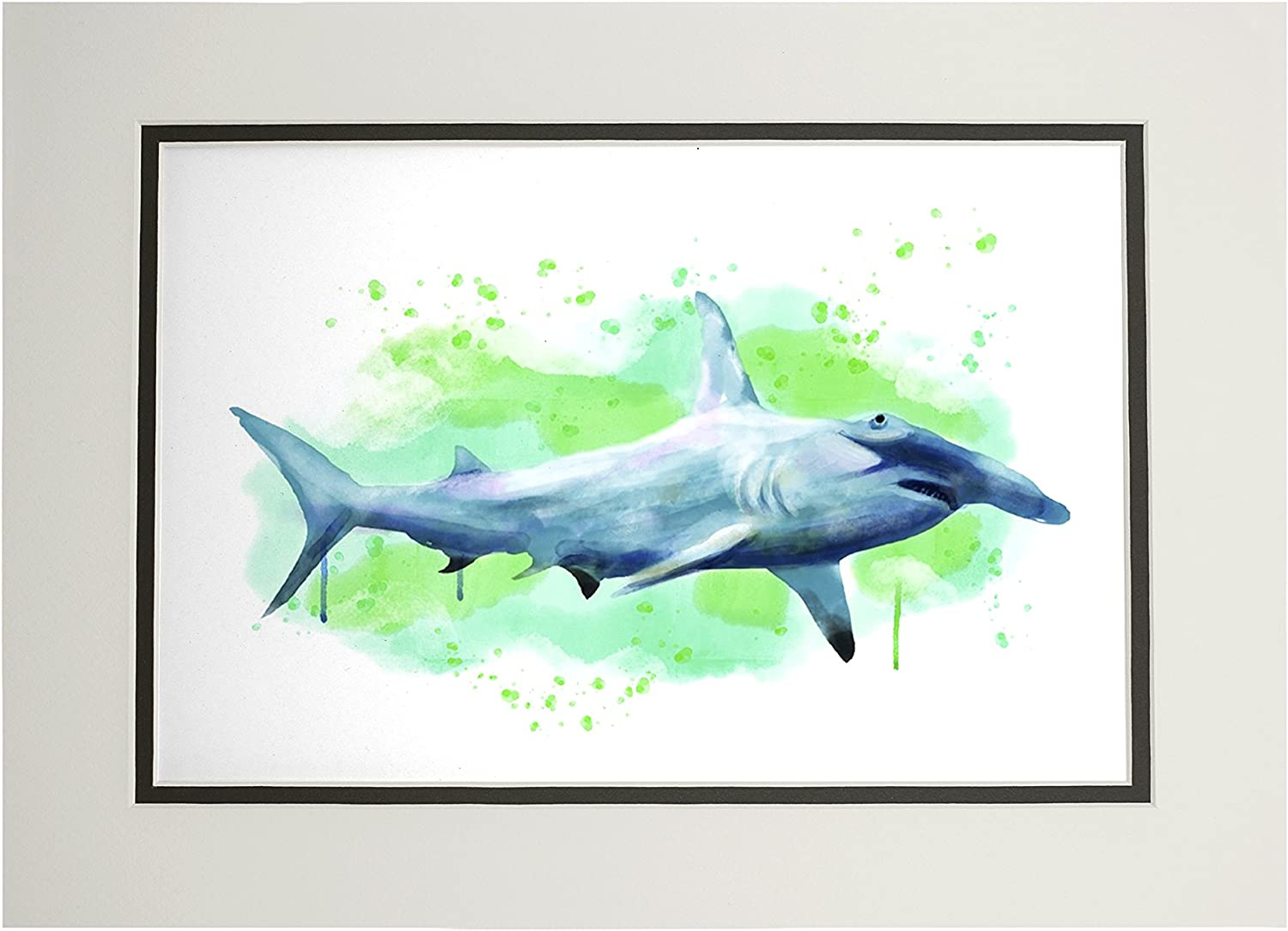 Hammerhead Shark - Watercolor (11x14 Double-Matted Art Print, Wall Decor Ready to Frame)