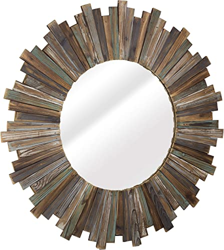 American Art Decor Wooden Starburst, Sunburst Wall Mirror Farmhouse Wall Decor 36