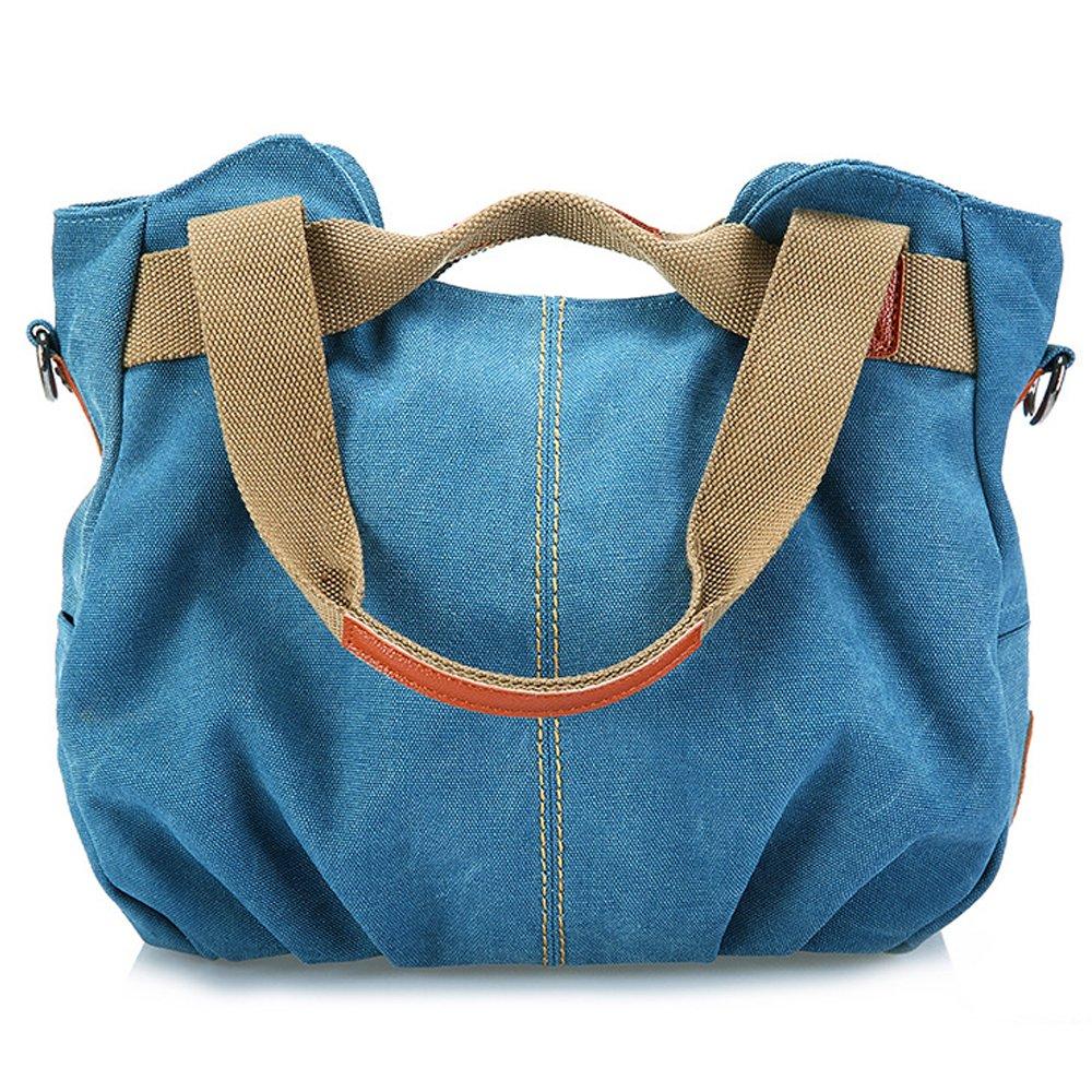 Canvas Tote Bags Large Women Shoulder Bags (blue)