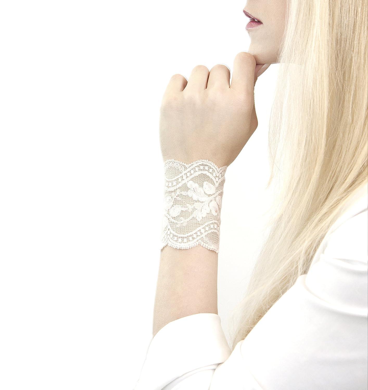 Stretch for Women Lace Bow Tie Wrist Cuff Bracelet Grey