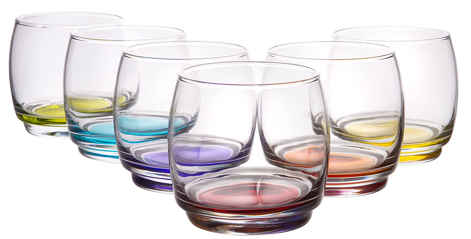 Le Virage Stackable Clear Glass 11 Ounce Double Old Fashioned Glasses - Set of 6 Red Co. 32566