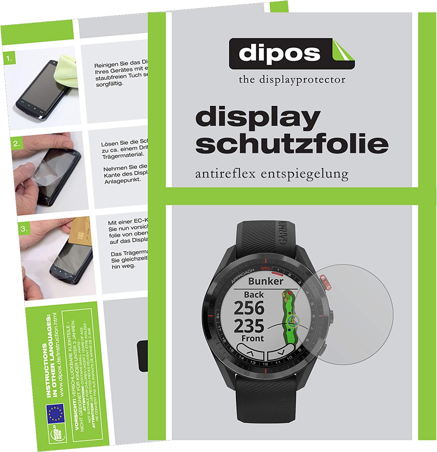 dipos I 2x Screen Protector matte compatible with Garmin Approach S62 Protection Films