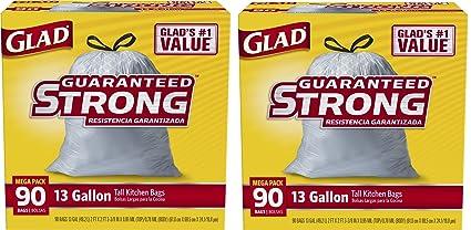 amazon com glad tall kitchen drawstring trash bags 13 gallon 180 rh amazon com