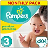 Pampers Premium Protection 204 Nappies, Monthly Saving Pack, 4 - 9 kg, Size 3