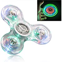 FIGROL Fidget Spinner, Clear Fidget Toy, Crystal Led Light Rainbow Toy Finger Hand Spinner-Kids(Crystal)