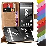 Eximmobile - Book Case Handyhülle für Sony Xperia E in Schwarz mit Kartenfächer | Schutzhülle | Handytasche ALS Flip Case Cover | Handy Tasche | Etui Hülle Kunstledertasche