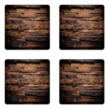 Ambesonne Chocolate Coaster Set of Four, Rough Dark