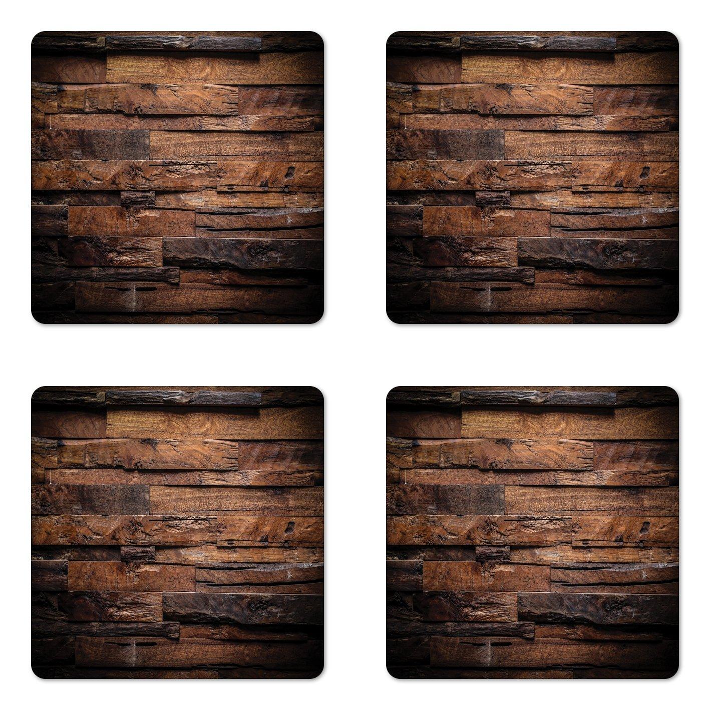 Ambesonne Chocolate Coaster Set of Four, Rough Dark