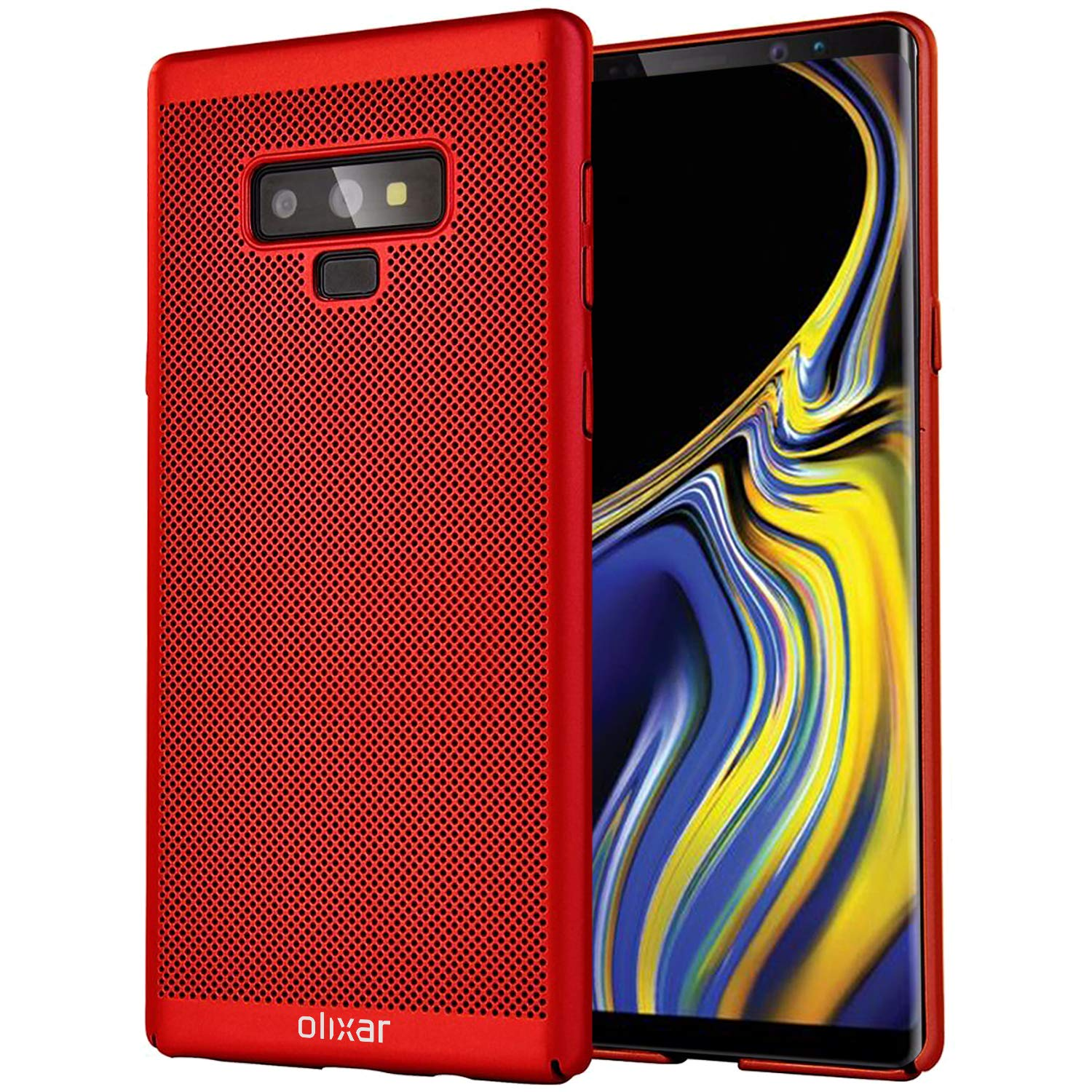 Olixar Samsung Galaxy Note 9 Breathable Case Heat Spigen Modern Slim Design Neo Hybrid Casing Burgundy Dissipating Mesh Cover Cooling Material Wireless Charging Compatible Meshtex Red