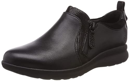 56f83e8bfe1 Clarks Un Adorn Zip Womens Leather Zip Wedge Shoes  Amazon.co.uk ...