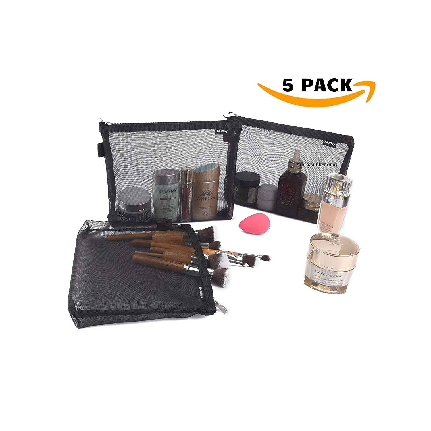 Mesh Makeup Bags with Zipper Cosmetic Organizer Makeup Pouch Black Mesh Bags with Zippers Small Pouch with Zipper Small Travel Accessories Bag Pencil Pouch Small makeup travel bag Travel Pouch 5 Bags