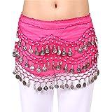 Hoter mousseline de soie pendent pièces d'argent ventre hanche foulard danse, le style de la mode
