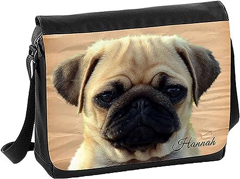 Cute Pug Bag Personalised College Laptop Sholder Gift Messenger School