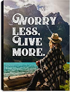Worry Less Live More| 12x18in| Motivational Inspirational Wall Art Canvas, Inspirational Wall Art for Office, Motivational Art for Office, Artwork Décor Inspiring Entrepreneur Ready to Hang