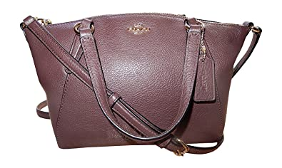 00ce5e5b0f6a Coach Pebble Leather Mini Kelsey Satchel Crossbody Handbag (IM Oxblood)