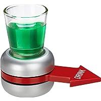 Relaxdays Trinkspiel Spin The Shot, Flaschendrehen, roter Pfeil, 2 cl Shotglas, lustiges Partyspiel, Shot Spinner, grau