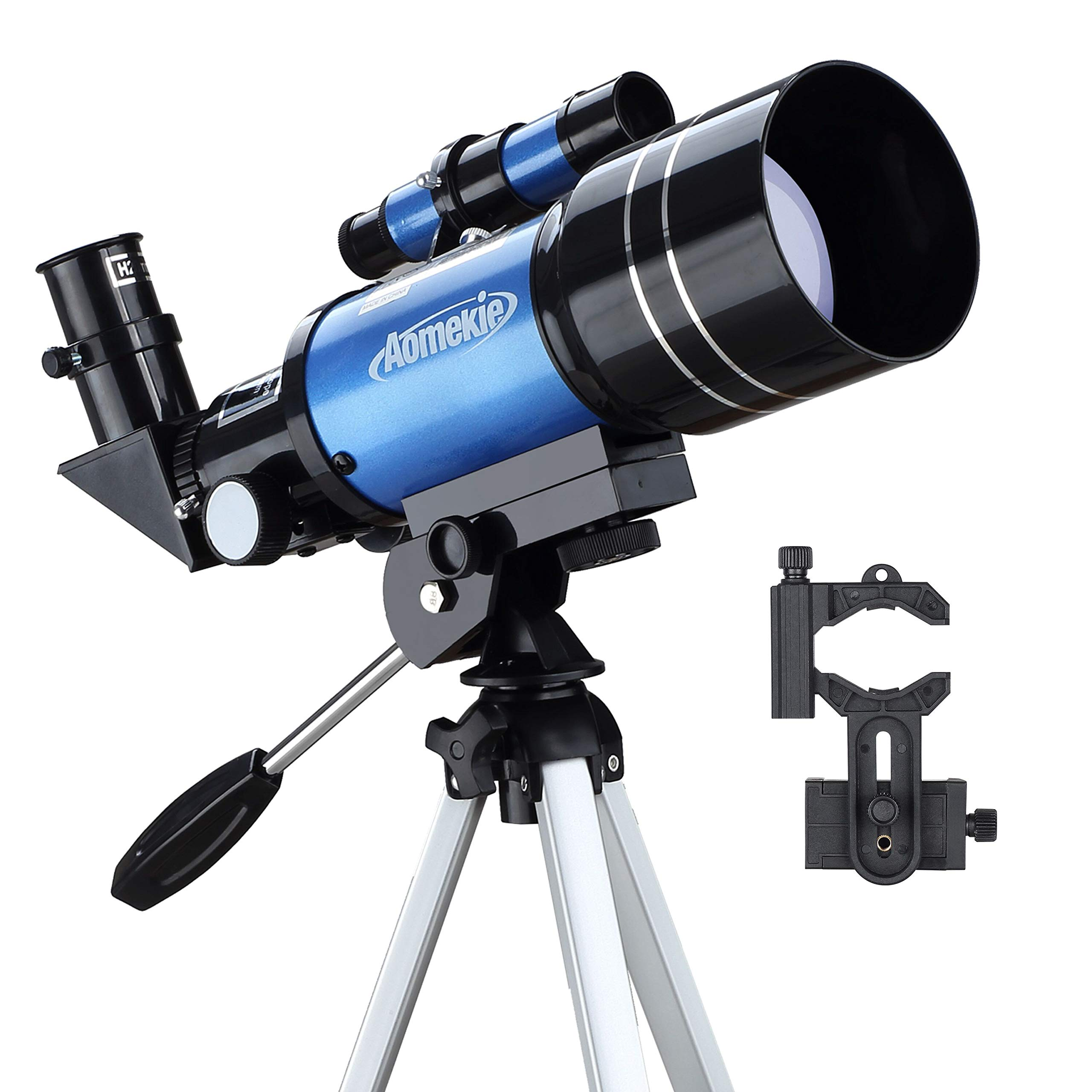 Aomekie Telescope for Kids Adults Astronomy Beginners 70mm Telescopes Travel Scope with Tripod Phone Adapter Finderscope 1.5X Erecting Eyepiece 3X Barlow Lens by AOMEKIE
