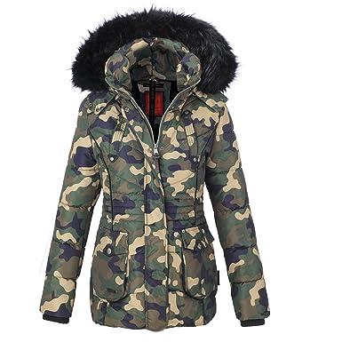 Marikoo Damen Jacke Parka Mantel Winterjacke Steppjacke Pelzkragen VNL81  (XS, Army Camouflage) ac696bad99