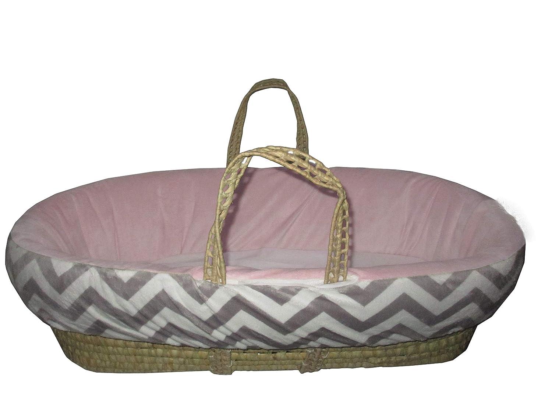 BabyDoll Minky Chevron Moses Basket Pink