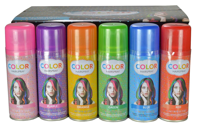 Amazon Com Temporary Hair Color Spray Case 24 Cans 6 Colors Chemical Hair Dyes Beauty