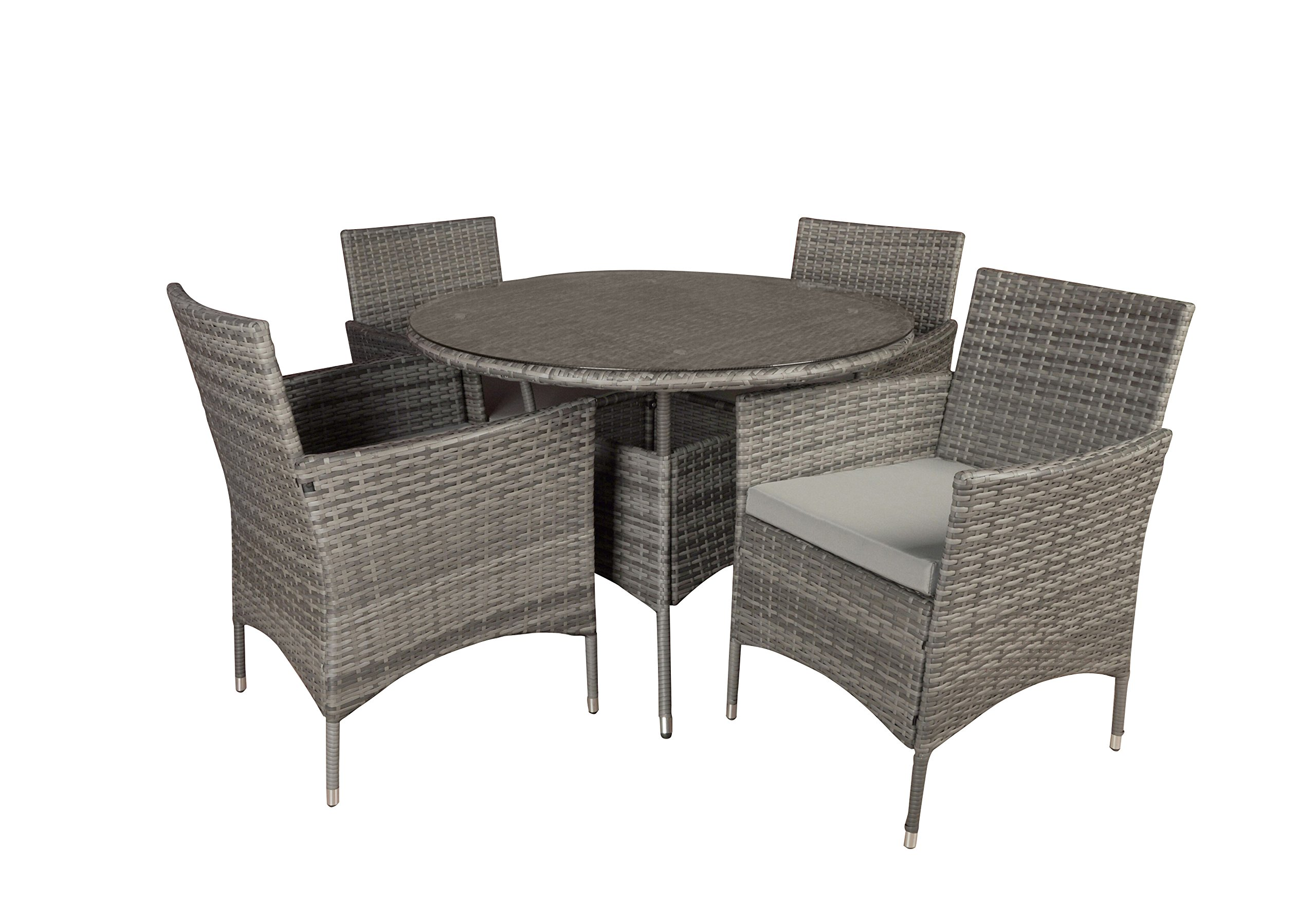 Outdoor Patio Table and Chairs Dining Furniture Set (Grey) - Modern round table with 4 chairs in the same durable and all weather material. Woven with rattan material which is a longer lasting and all weather type of wicker. Table top is tempered clear glass and each chair has a comfortable foam cushion with an all weather cover. - patio-furniture, dining-sets-patio-funiture, patio - 81vSaw4c6jL -