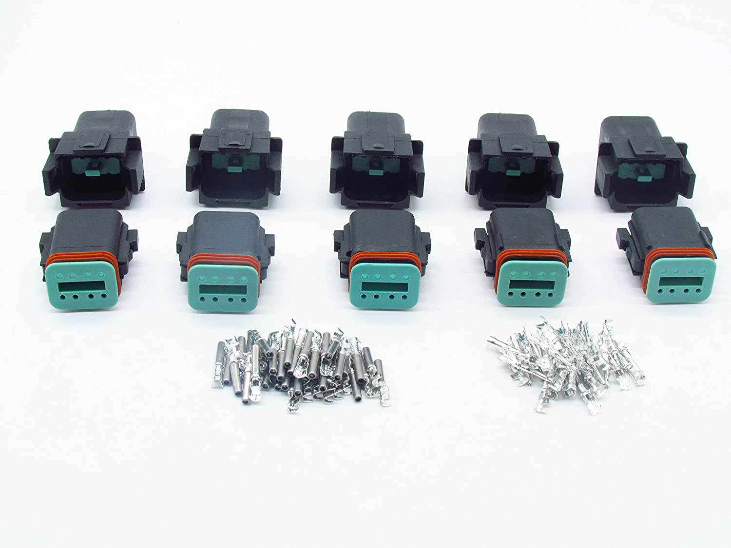 CNKF 5 Sets Gray DT Connector 3 Pin DT04-3P//DT06-3S Automobile 22-16AWG waterproof wire electrical connector plug