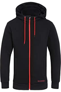282d413d Sundried Men's Warm Thick Zip Up Black Hoodie Best Sweatshirt for Winter  Outdoor Training