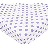 American Baby Company 100% Cotton Percale Fitted Crib Sheet, White/Lavender Dot