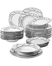 e0d5a6d6b68476 Veweet SERENA 36pcs Assiettes Pocelaine Service de Table 12pcs Assiettes  Plates 24,7cm, 12pcs
