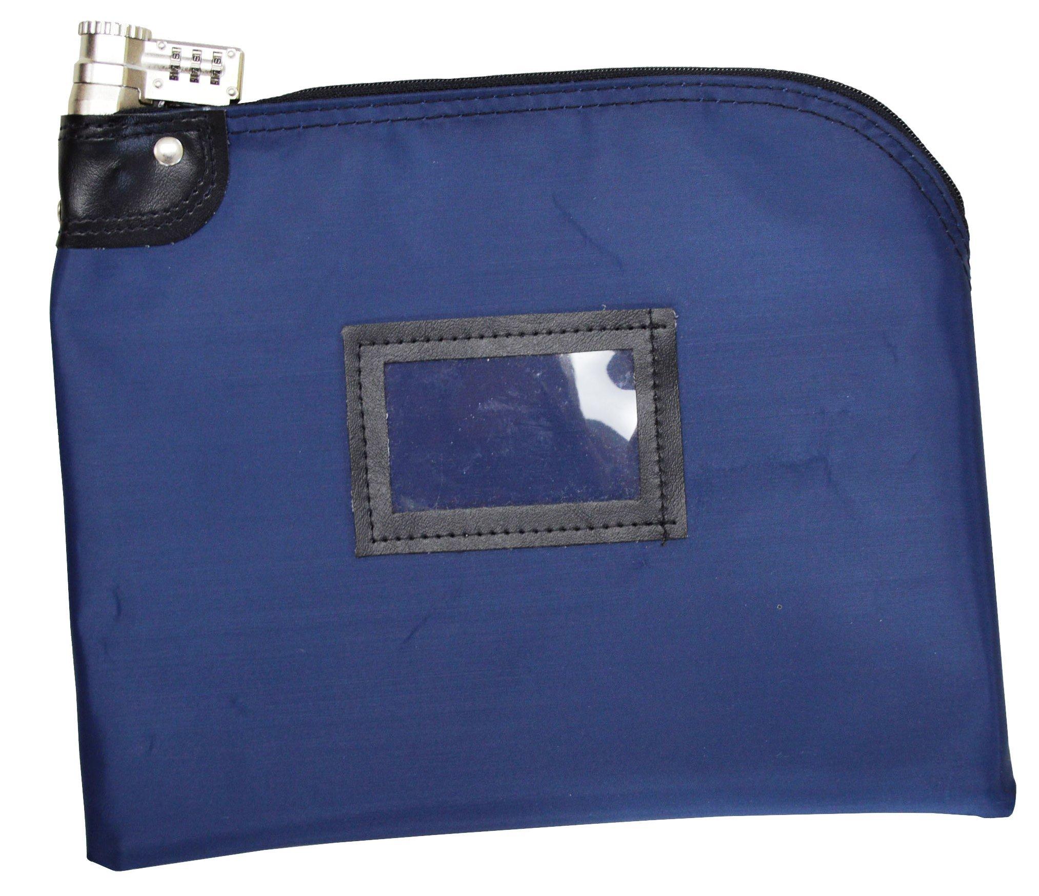 Locking Bank Bag Laminated Nylon Combination Keyed Security System Navy Blue