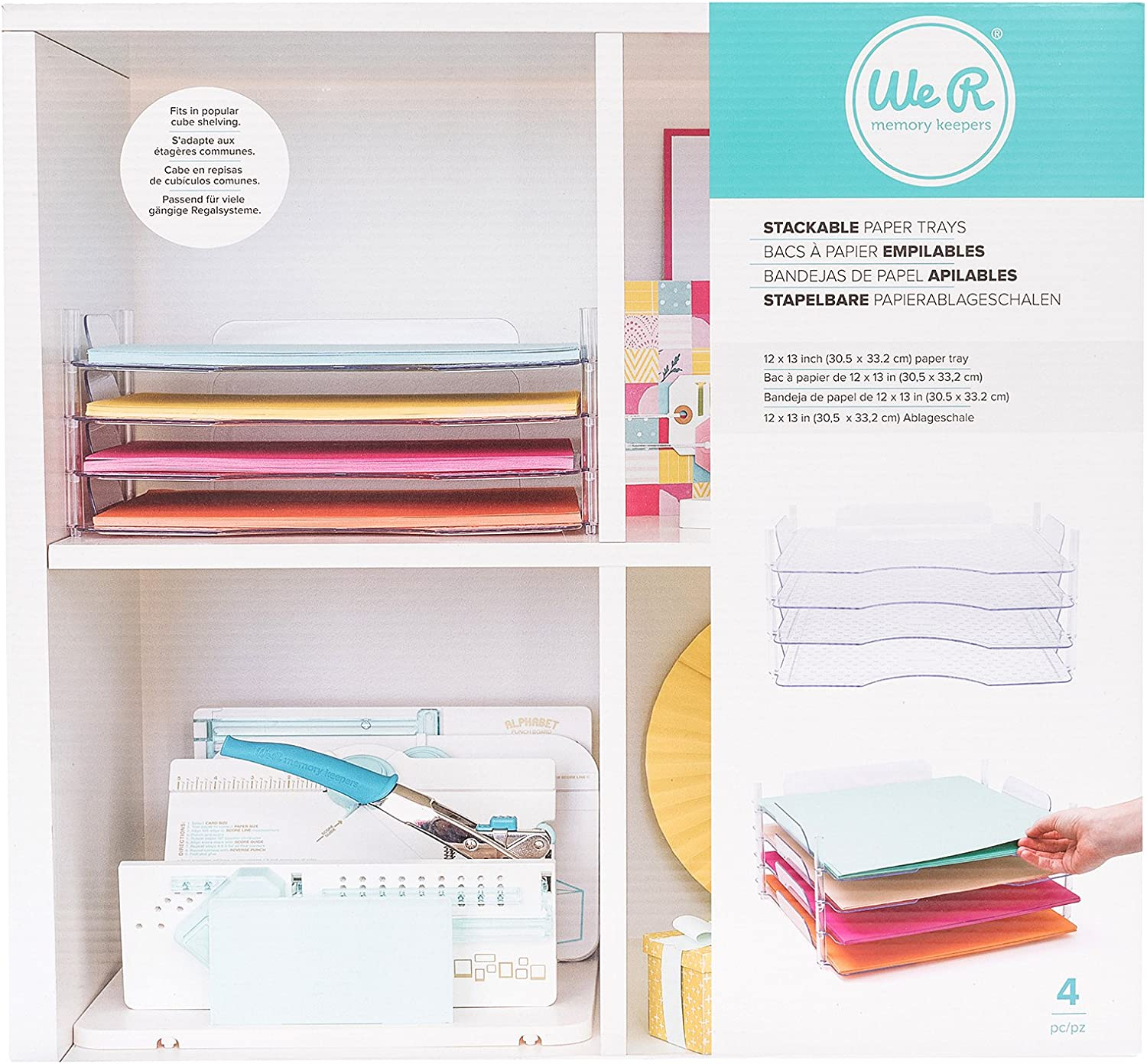 We R Memory Keepers 4 Piece 12 x 12 Inch Stackable Trays Bandejas para Papeles apilables, transparant: Amazon.es: Hogar